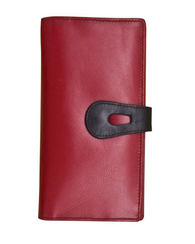 verdigris Leather wallet with cut-outtab closure, Red/Blk