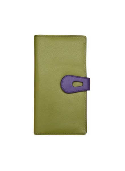 verdigris Leather wallet with cut-outtab closure, Moss green/purple