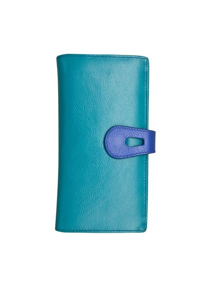 verdigris Leather wallet with cut-outtab closure, Aqua & cobalt