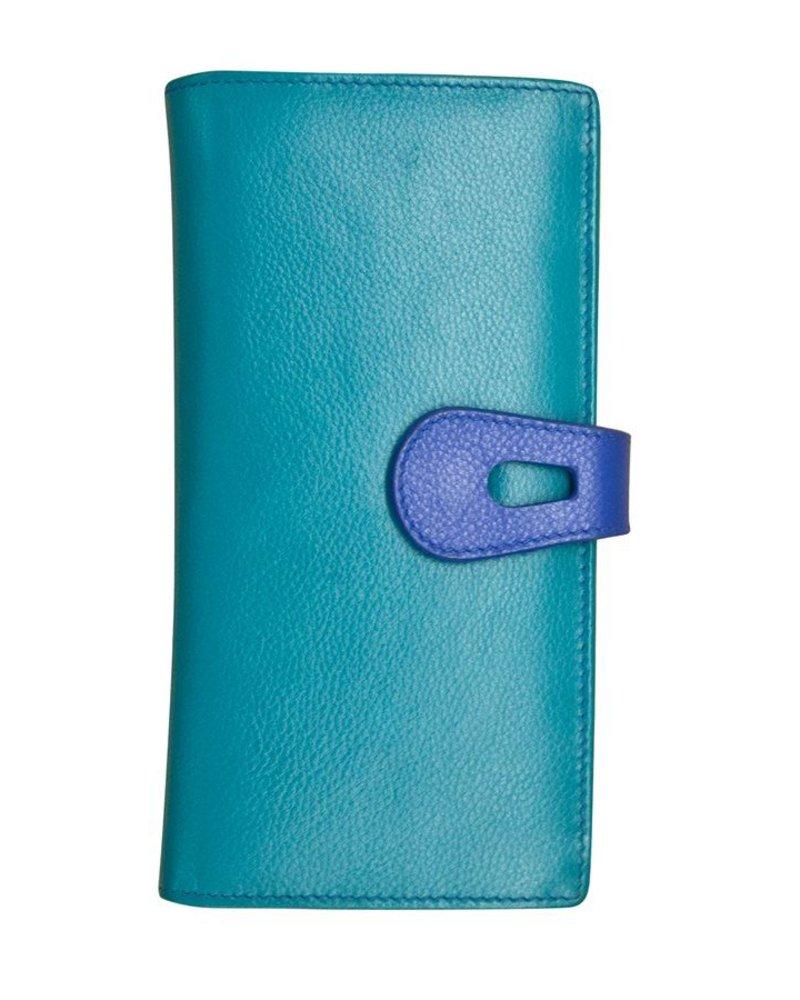 verdigris Leather wallet with cut-outtab closure, Aqua & cobalt