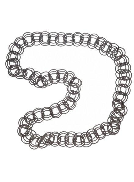 verdigris Slate long spring ring necklace