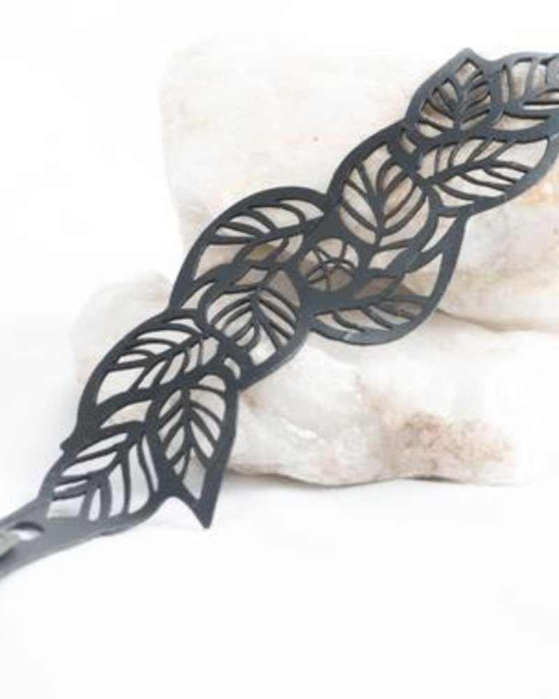verdigris Tropical leaves rubber bracelet