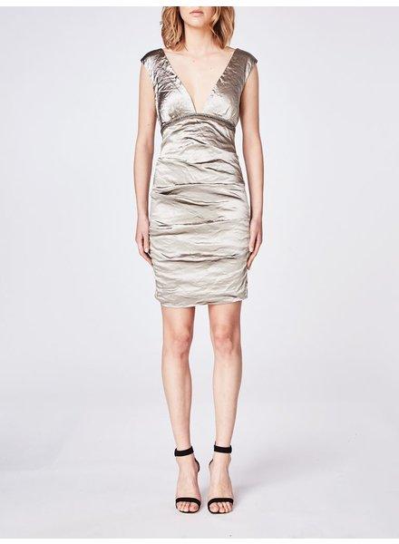 Techno metal plunge dress