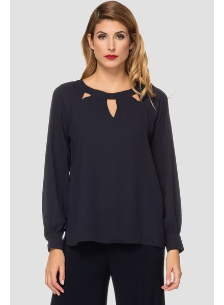 Joseph Ribkoff Triangular cutouts line the rounded neckline  blouse