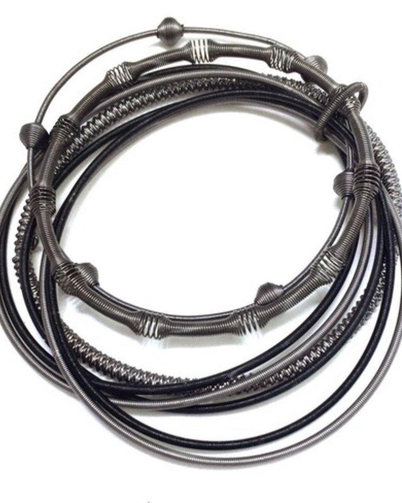verdigris Black multi texture pianowire bracelet