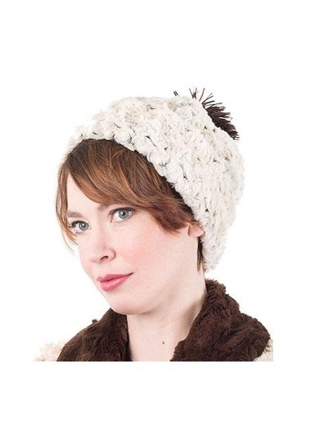 BEANIE-LRG.CUDDLY FUR IN CHOCOLATE WITH ROSEBUD IN BROWN WITH P0M-POMS