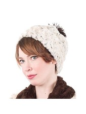 BEANIE-MED. CUDDLY FUR IN CHOCOLATE WITH ROSEBUD IN BROWN WITH POM-POMS