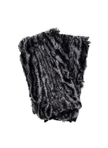 Fingerless gloves-Cuddly fur in black with luxuary faux fur in Siberian lynx