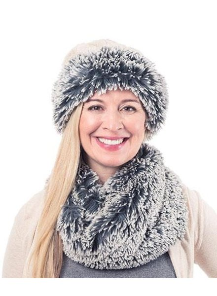 NECK WARMER-SILVER TIP FOX IN BLUE STEEL
