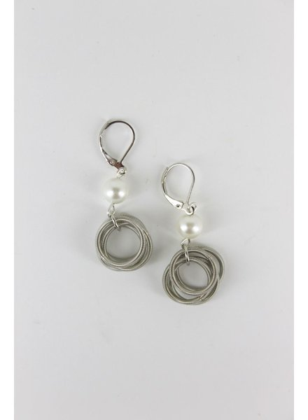 verdigris Silver PianoWire Loop with White Pearl earrings