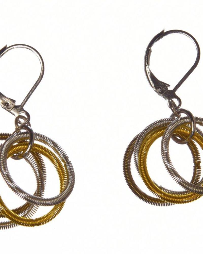 verdigris Gold/Silver/Bronze PianoWire Multi- Loop earrings