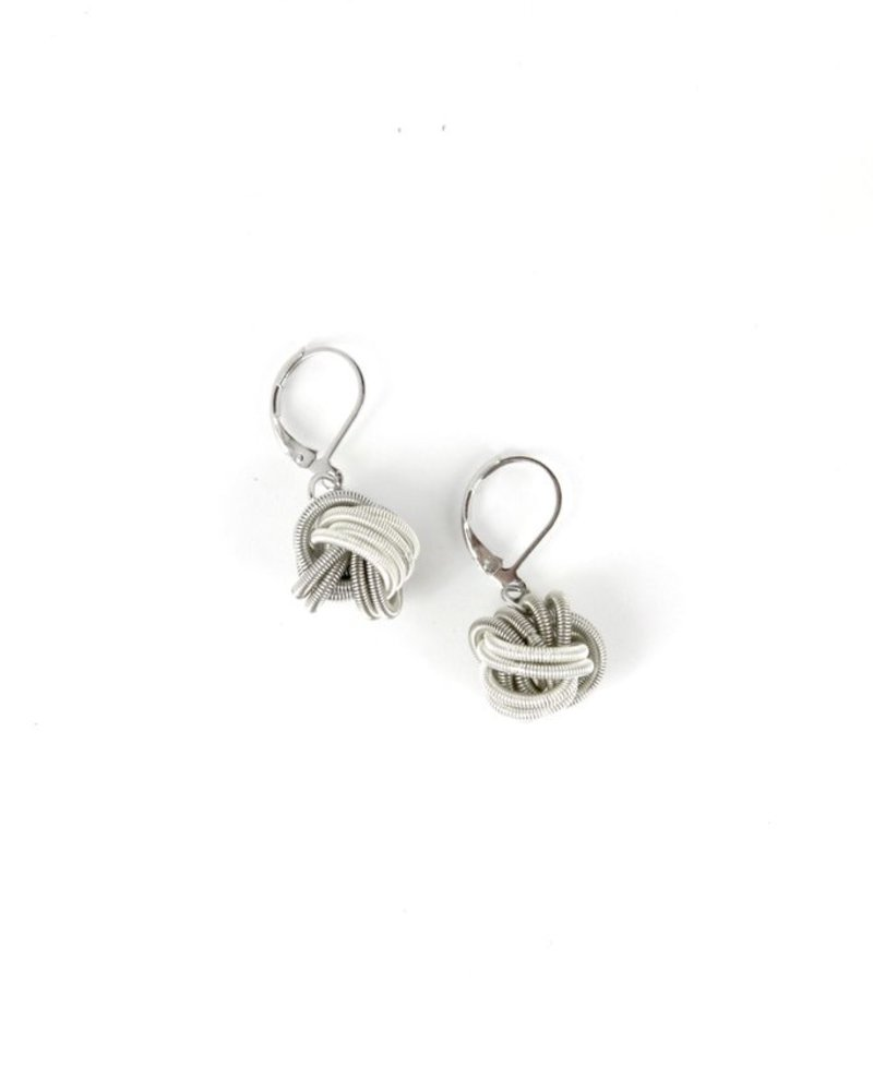 verdigris Silver and White Knot PianoWire Earring