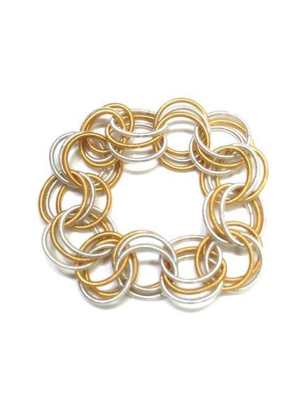 verdigris White and Gold PianoWiore Spring Ring Bracelet