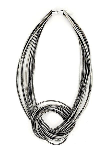 verdigris Silver/Slate Mix Large Knot PianoWire Necklace