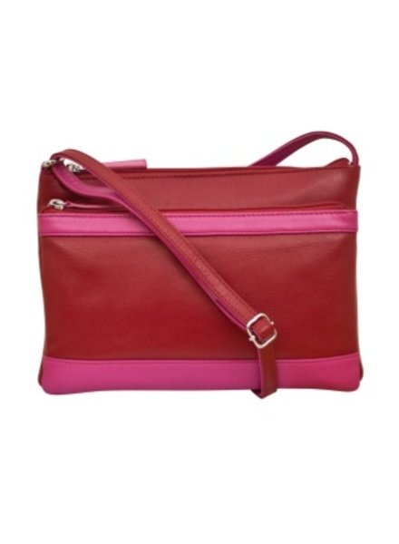 Leather cross body bag, Rouge