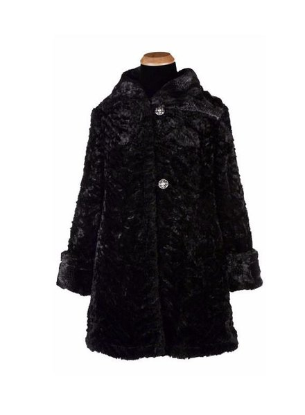 verdigris HEPBURN SWING COAT, REVERSIBLE LESS POCKETS - LUXURY FAUX FUR IN PYTHON WITH CUDDLY FUR IN BLACK