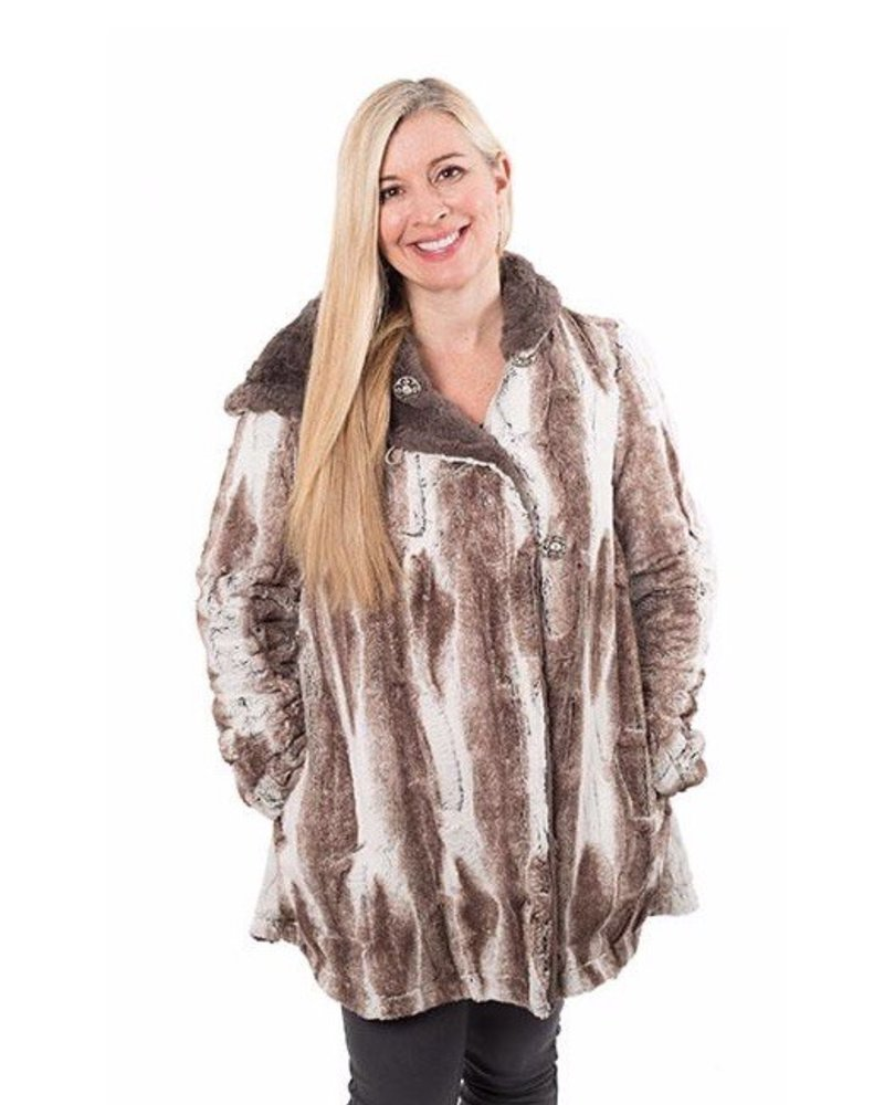 verdigris HEPBURN SWING COAT, REVERSIBLE LESS POCKETS - LUXURY FAUX FUR IN BIRCH WITH ASSORTED FAUX FUR