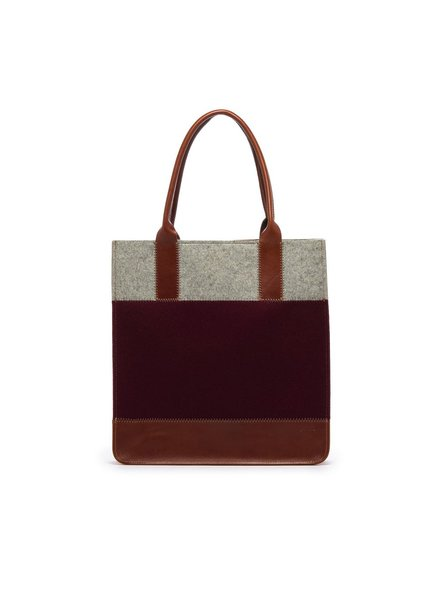 Graf & Lantz Jaunt tote burgundy & granite felt/sienna leather