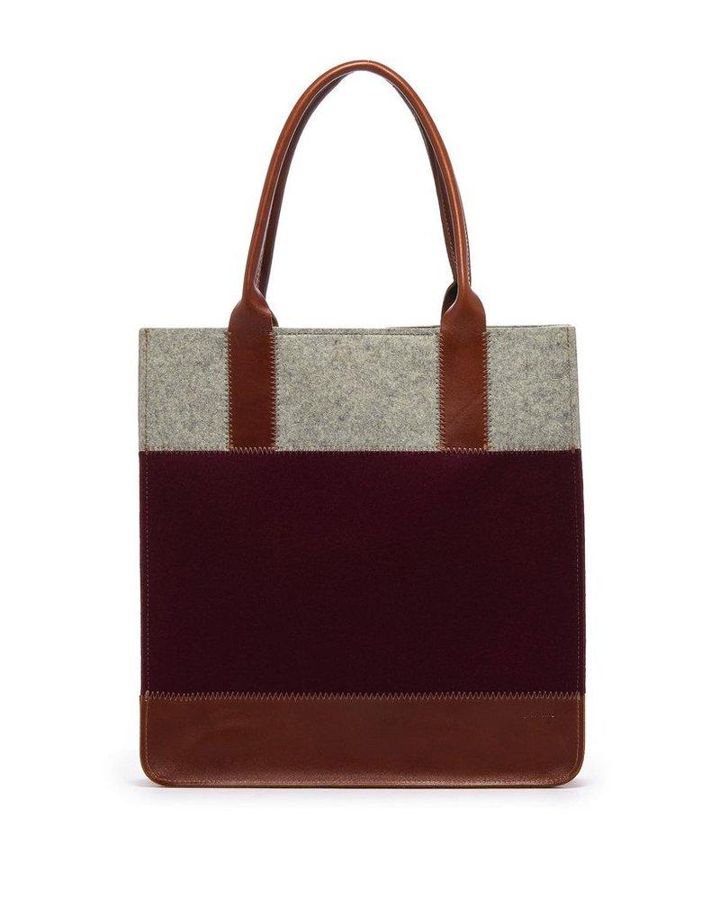 Graf & Lantz Jaunt tote burgundy & granite felt/sienna leather