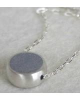 verdigris Step Round silver &amp; concrete <br />Necklace