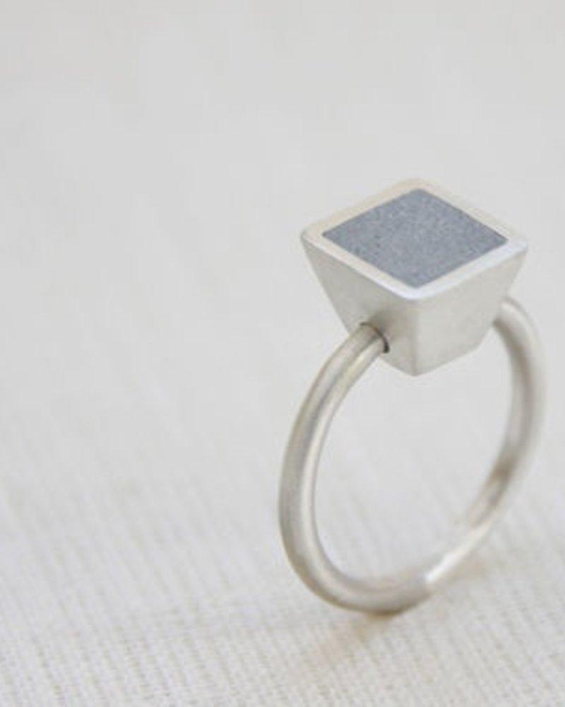 verdigris Square Step Dot Ring<br />Silver &amp; Concrete<br />Size 8