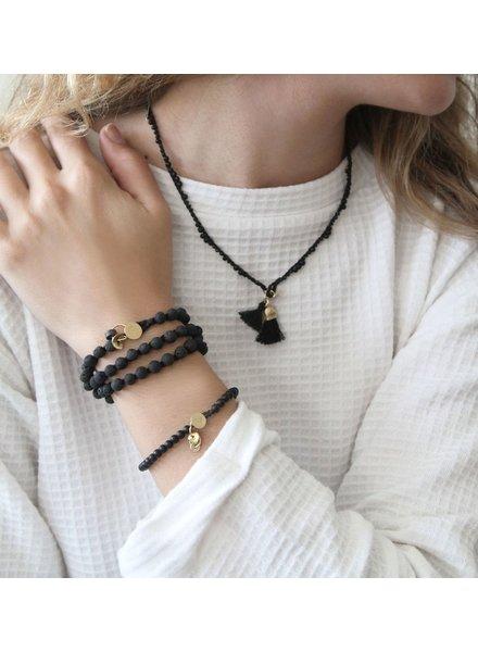 verdigris Crochet Beads necklace with tassel, concrete family