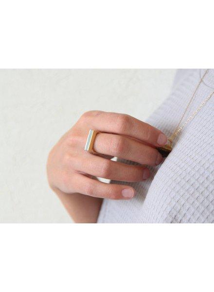verdigris Gold & concrete wide stripe ring, size 8/9