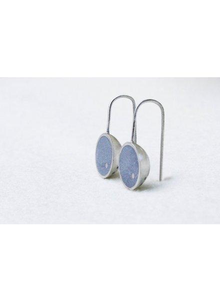 verdigris Cupola Earrings, Silver & Concrete