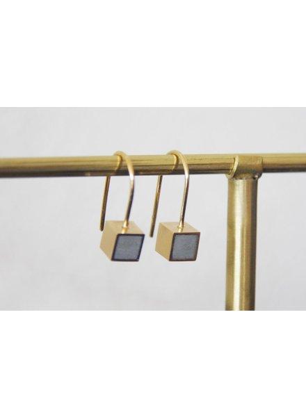 verdigris Hanging cube gold concrete earrings