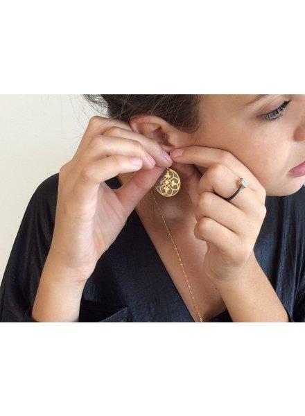verdigris Praline gold and concrete earrings