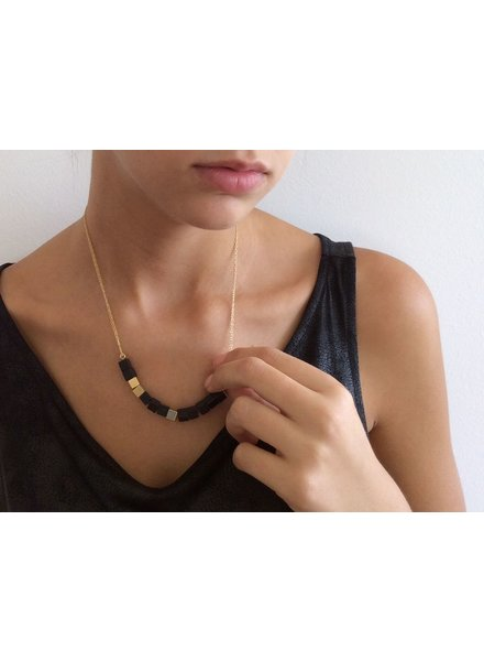 verdigris Onyx, gold & concrete necklace