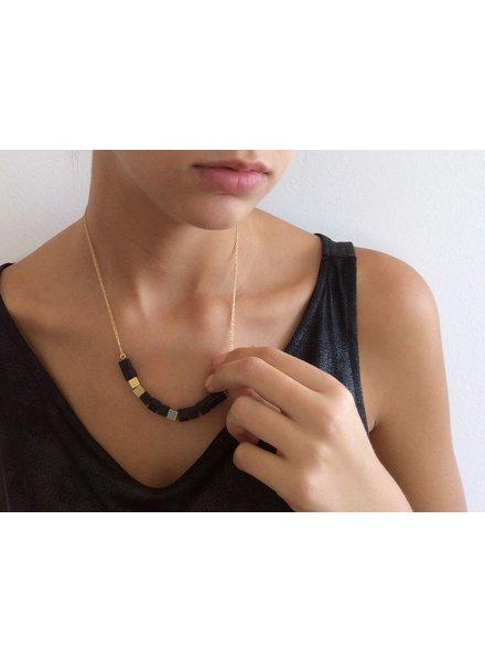 verdigris Onyx, gold & concrete necklace