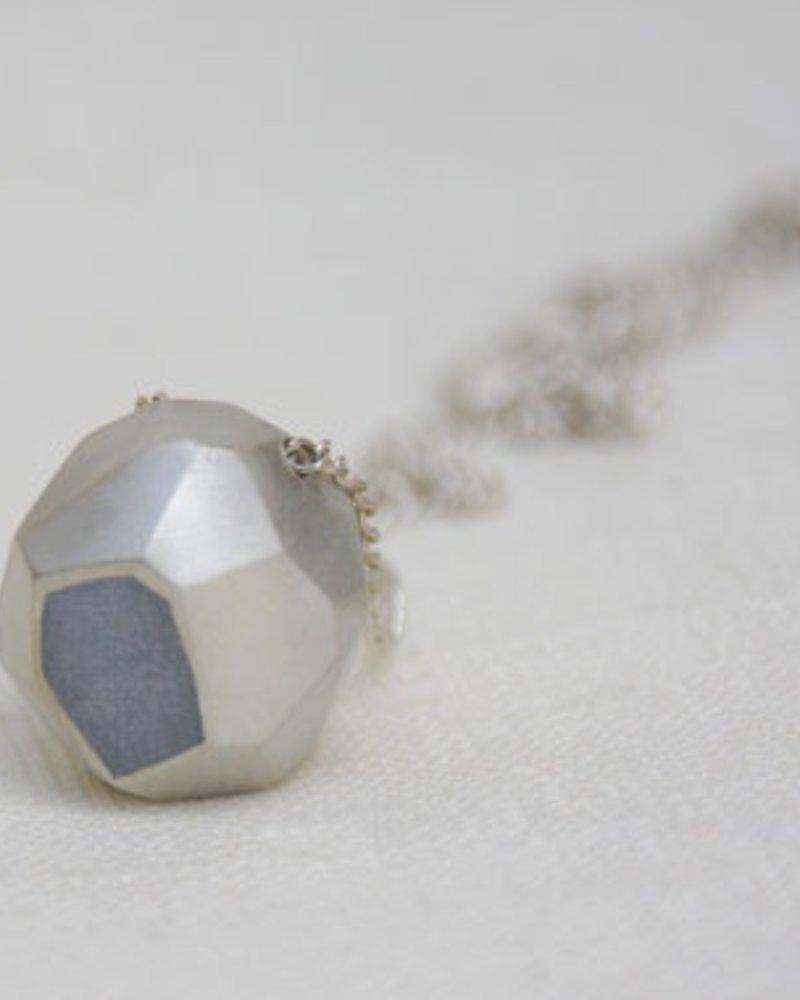 verdigris Faceted Nugget Necklace, <br />Silver &amp; Concrete