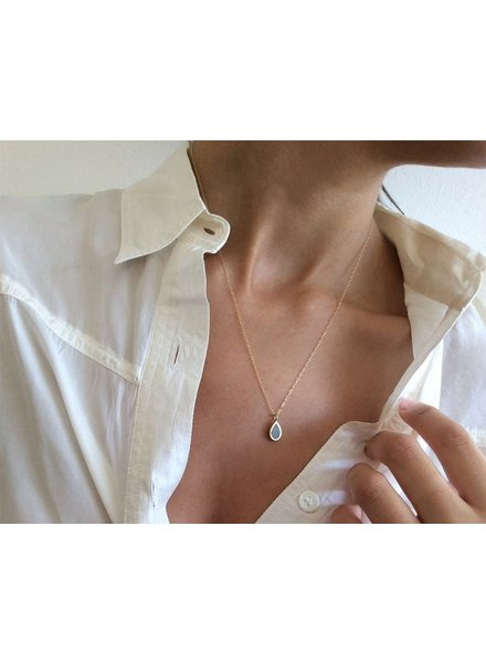 verdigris Gold teardrop necklace,<br />concrete &amp; gold