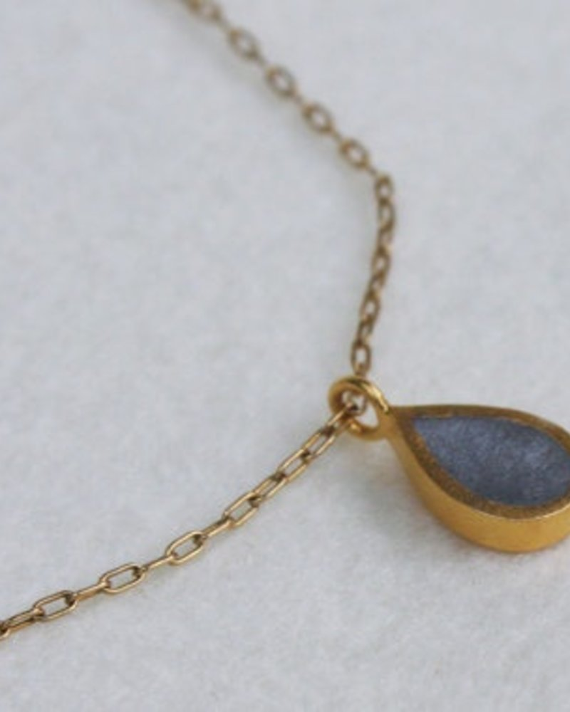 verdigris Gold teardrop necklace,<br />
