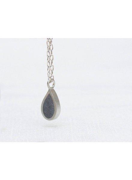 verdigris Tear drop silver and concrete necklace