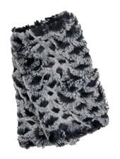 verdigris Faux Fur Fingerless Gloves in black &amp; snow owl <br /> Made in the USA