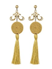 GRAND FLEUR AND SWIRL TASSEL EARRINGS