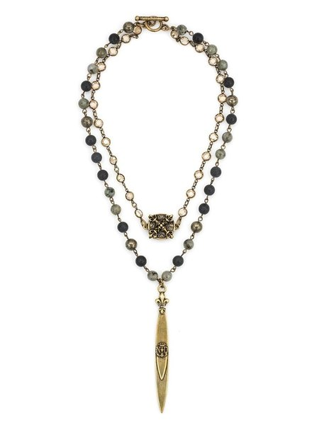 French Kande DOUBLE STRAND MIDNIGHT MIX WITH BRASS WIRE, SWAROVSKI, X MEDALLION AND POINTU PENDANT