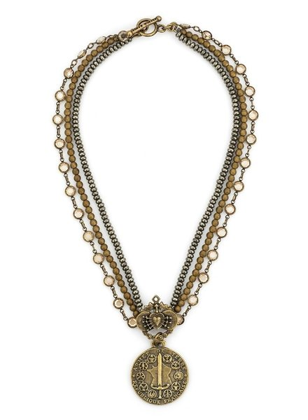 TRIPLE STRAND SWAROVSKI AND STONES WITH IMMACULATE HEART RELIER AND DU TERRE MEDALLION