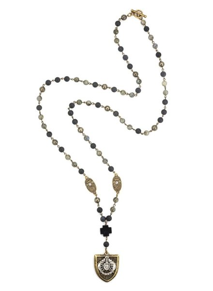French Kande MIDNIGHT MIX WITH BRASS WIRE, SWAROVSKI CUVEE PENDANTS AND CHEVAL HEART STACK MEDALLION