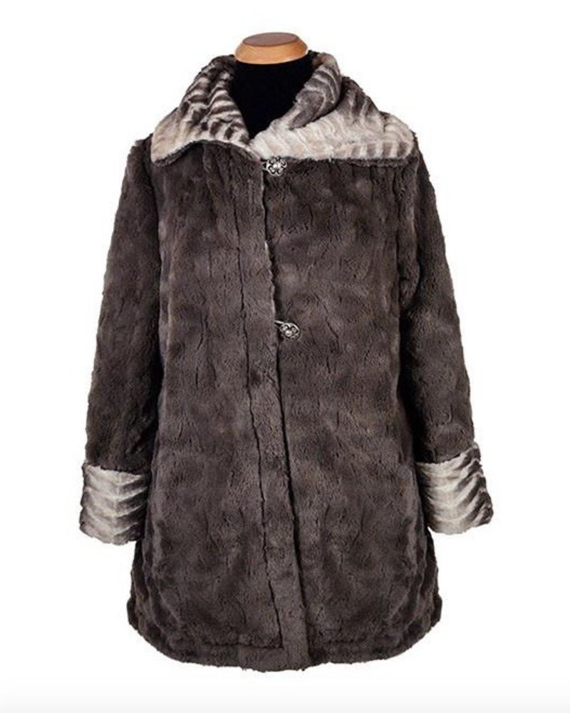 HEPBURN SWING COAT - MATTERHORN FAUX FUR<br /> MEDIUM