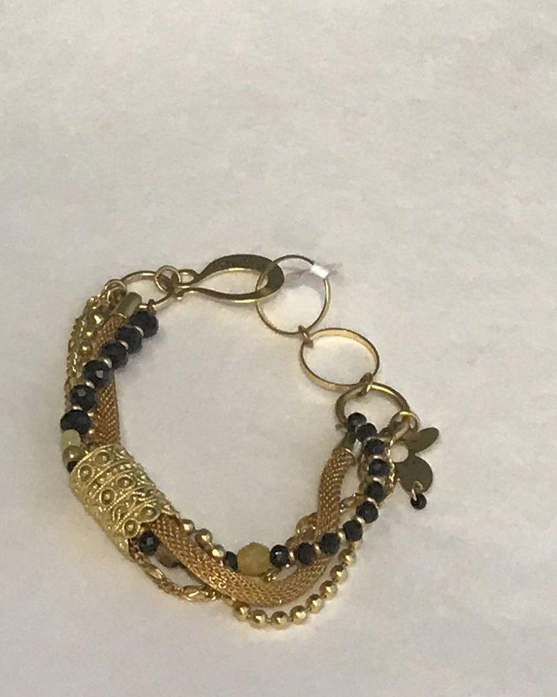 verdigris Galgal antic bracelet, Onyx