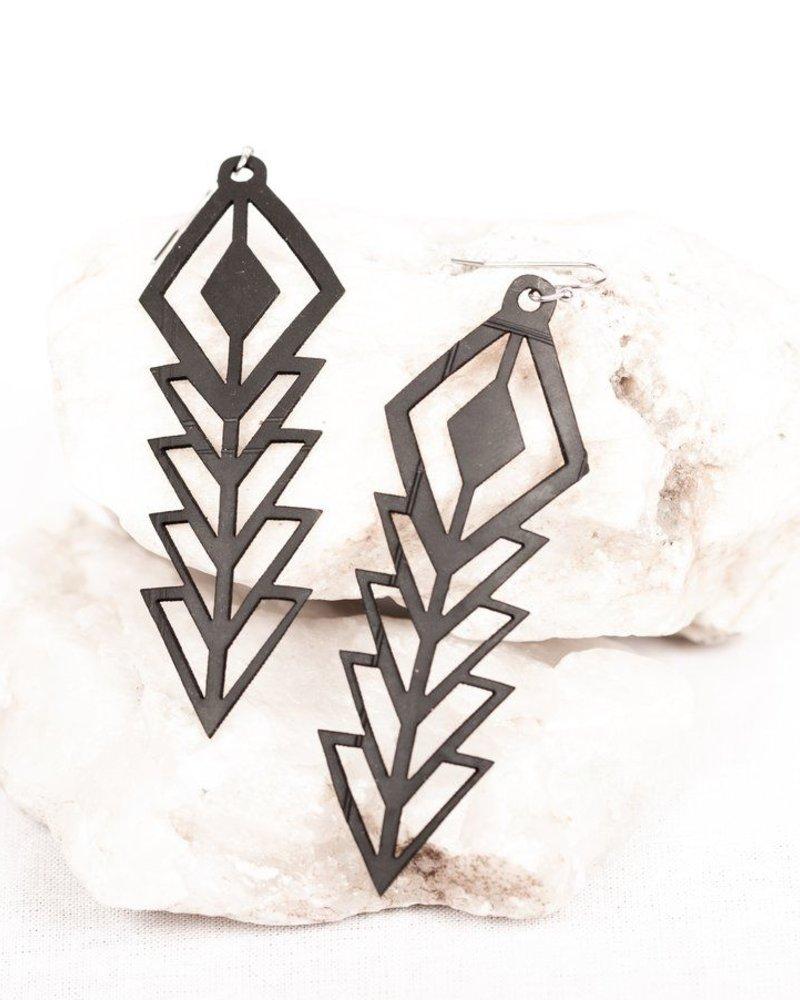 verdigris Diamond rubber earring