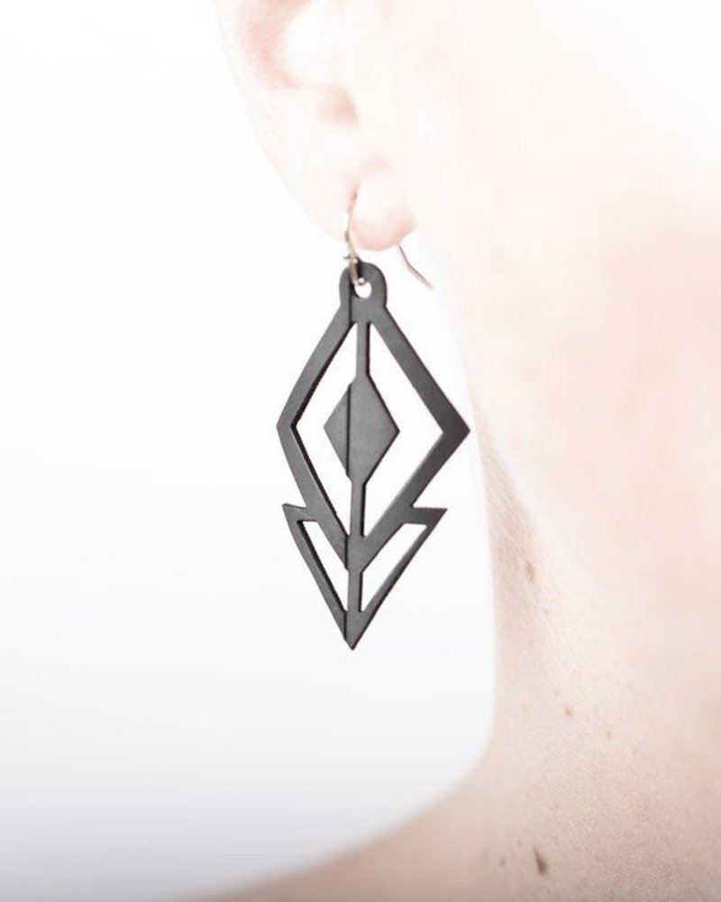 verdigris Small diamond rubber earring