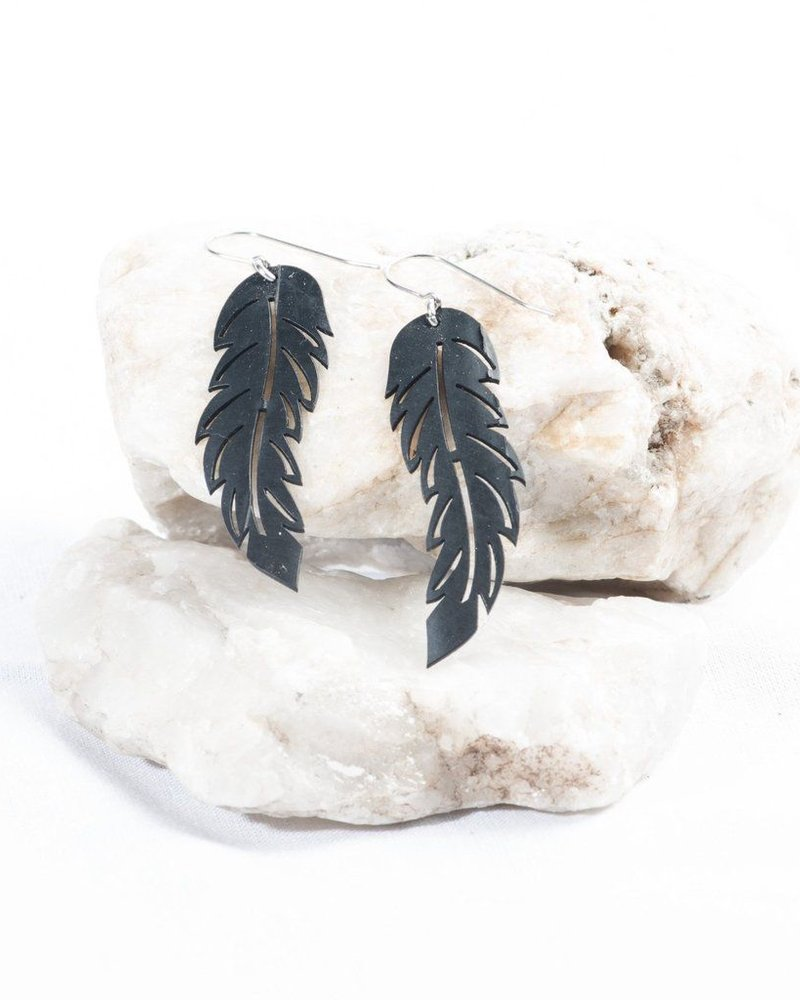 verdigris Feather Rubber Earrings