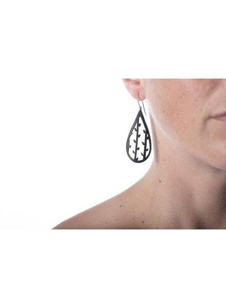 verdigris Medium tear Drop With Vine and Leaf Rubber Earrings