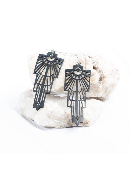 verdigris Tribal Rubber Earrings