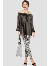 Joseph Ribkoff Striping and full-length bell sleeves blouse