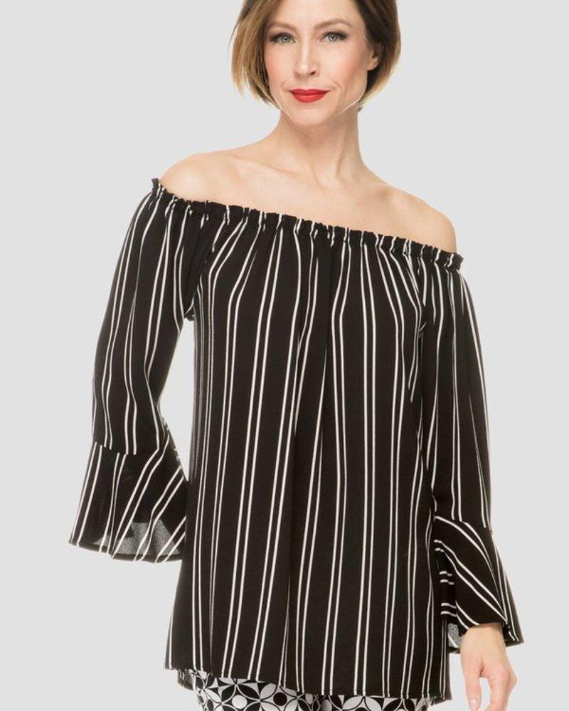 Joseph Ribkoff Striping and full-length bell sleeves blouse